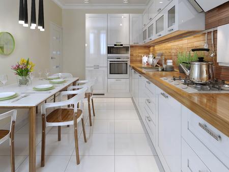 Kitchen, avant-garde style. 3d render