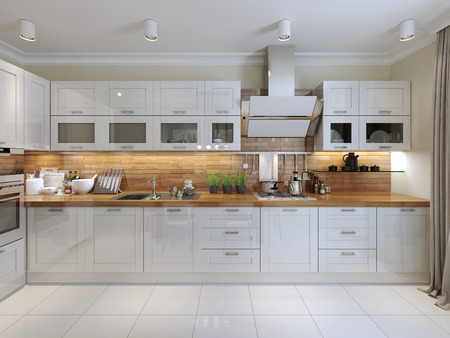 cucina moderna: Contemporary Design Cucina. Rendering 3D Archivio Fotografico