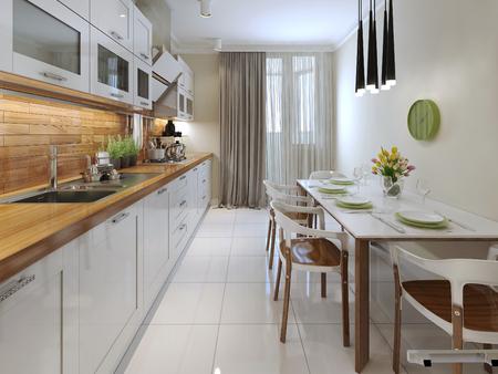 cortinas rojas: Cocina moderna. 3d