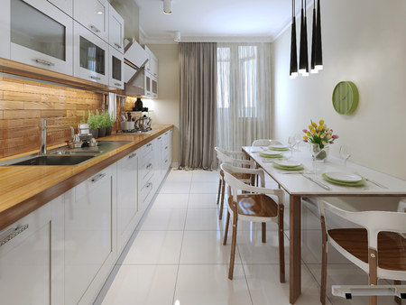 contemporary kitchen: Modern kitchen. 3d render
