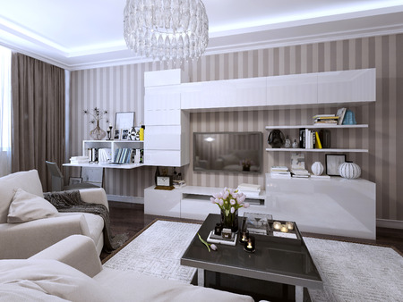 room wallpaper: Living modern style. 3d render