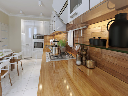 Kitchen worktop with accessories. 3d render