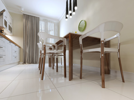 countertops: dining table and chairs modern style. 3d render