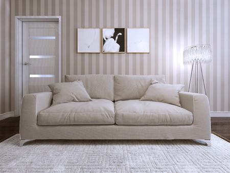 room decor: Sofa modern style upholstered. 3d render