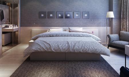 bedroom interior, modern style. 3d images Archivio Fotografico