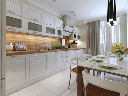 refrigerator kitchen: Contemporary Kitchen Design. 3d render