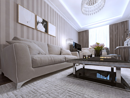 media room: Contemporary Living Style. 3d render