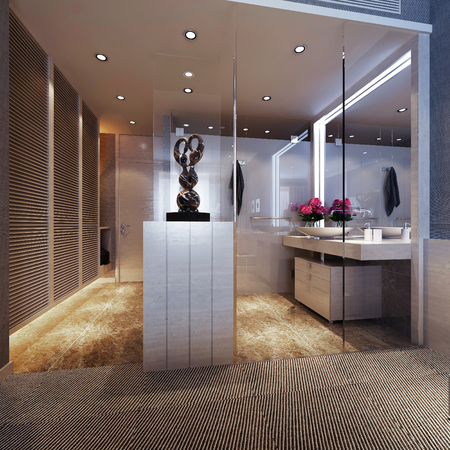 guest room: Bathroom interior, in guest room. 3d images Stock Photo