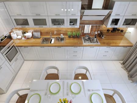 countertops: Kitchen style minimalism. 3d render Stock Photo