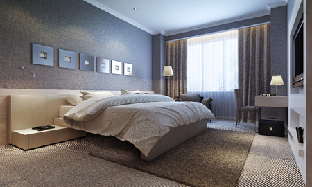 carpet flooring: bedroom interior, modern style. 3d images Stock Photo