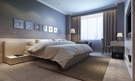 slaapkamer interieur, moderne stijl. 3D-beelden Stockfoto