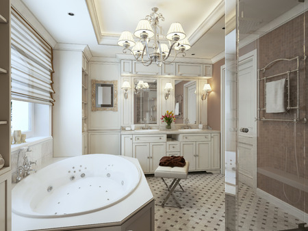 niches: classic Bathroom. 3d render Stock Photo