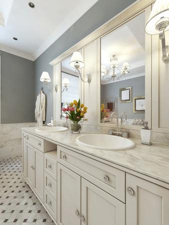 밝은 아트 데코 스타일의 욕실. 3d 렌더링