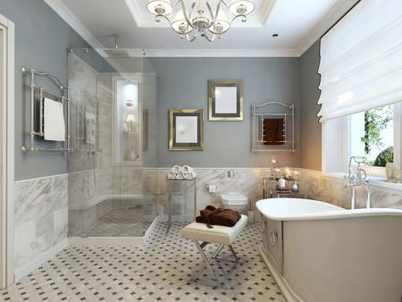 Bright bathroom classic design. 3d render