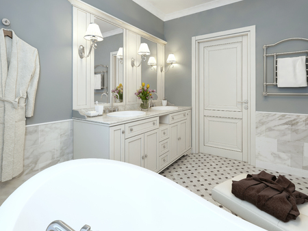 Bright Bathroom Provence. 3d render 写真素材