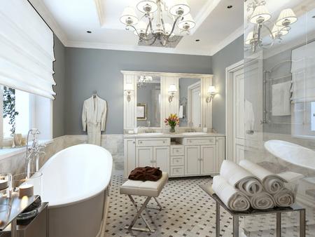 Bright Bathroom Provence. 3d render Stock Photo