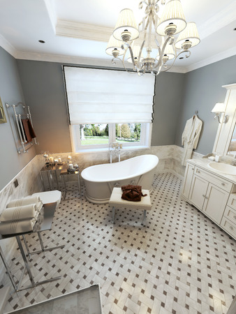 niches: Bright bathroom Mediterranean design. 3d render