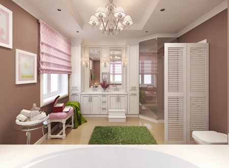 bathroom tile: Childrens bathroom girl in pink. 3d render