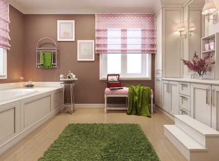 piastrelle bagno: Bambini bagno ragazza in rosa. Rendering 3D Archivio Fotografico