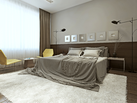 carpet and flooring: Bedroom high-tech style, 3d images