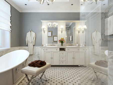 bath gown: Bright Bathroom Provence. 3d render Stock Photo