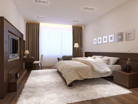 modern interior: Bedroom interior minimalism style, 3d images