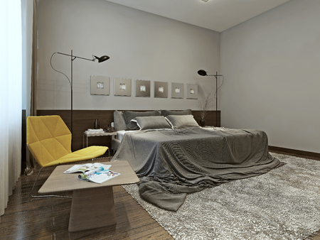 Bedroom constructivism style, 3d images Stock Photo