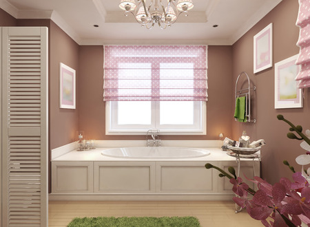 niches: Classic bathroom for girls. 3d render