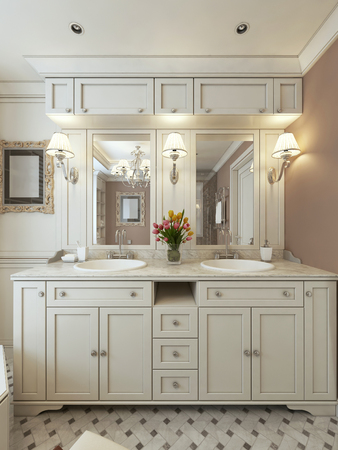 bath gown: Bathroom design avant-garde. 3d render