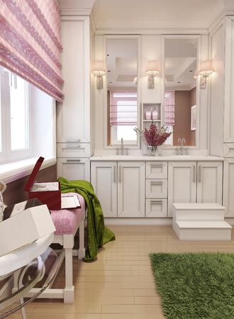 toallas: baño art deco de color rojo. 3d Foto de archivo