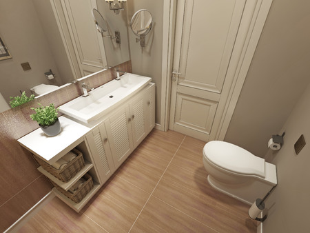shower cubicle: Bathroom modern design. 3d render