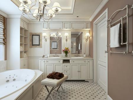 classic Bathroom. 3d render Stock Photo
