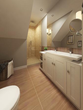 niches: Bathroom Mediterranean design. 3d render