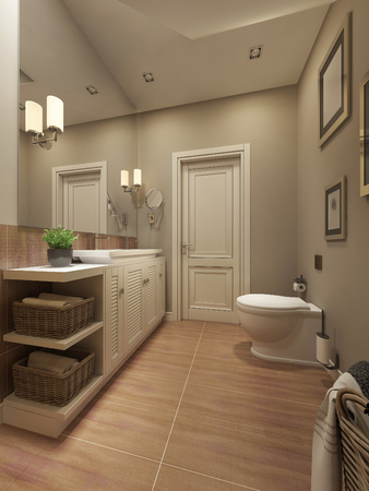bright light: Bathroom Mediterranean design. 3d render