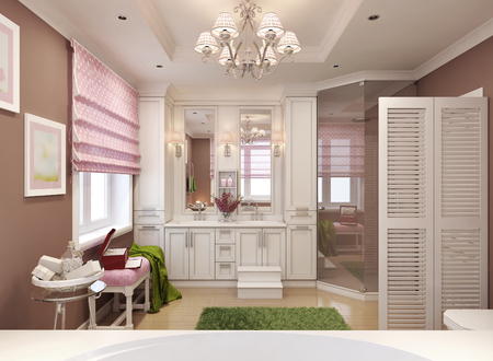 sconces: Classic bathroom for girls. 3d render