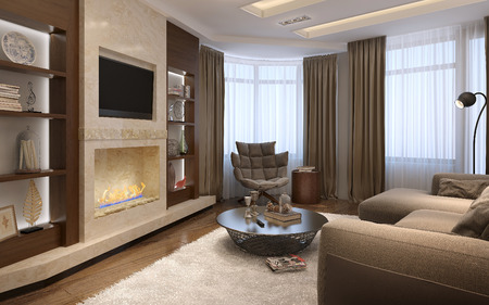 modern living room: Living room in a modern style, 3d images