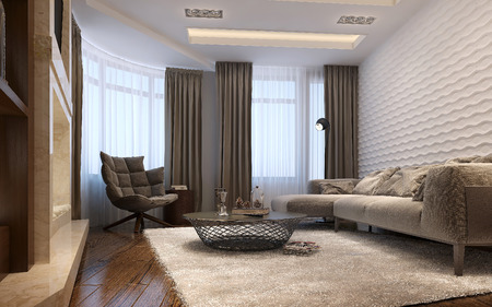 family living: Living room techno style, 3d images
