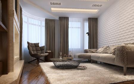 modern living: Living room techno style, 3d images