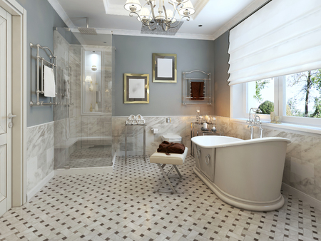 niches: Bright Bathroom Provence. 3d render Stock Photo