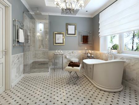 bathroom tiles: Luminoso Bagno Provenza. Rendering 3D Archivio Fotografico