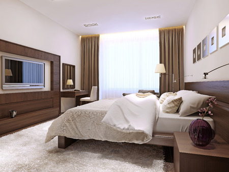 wenge: Bedroom interior in modern style, 3d images Stock Photo