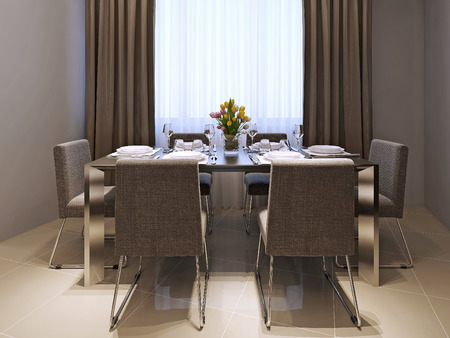wenge: Dining room modern style, 3d images Stock Photo