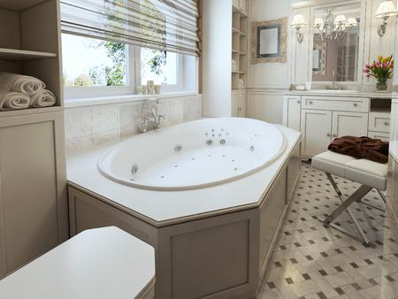 panel: classic Bathroom. 3d render Stock Photo