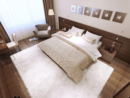 wenge: Bedroom interior high-tech style, 3d images Stock Photo