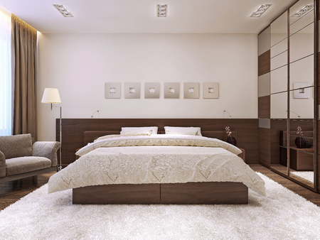 Bedroom interior in modern style, 3d images Foto de archivo
