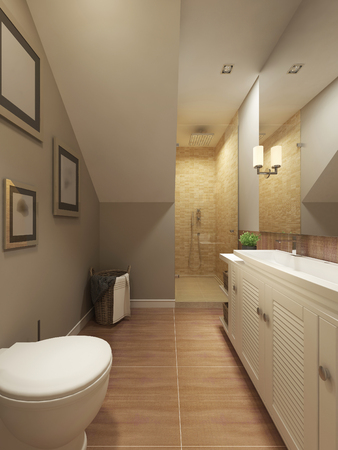 niches: Bathroom Provence. 3d render Stock Photo