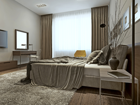 modern chair: Bedroom interior high-tech style, 3d images Stock Photo