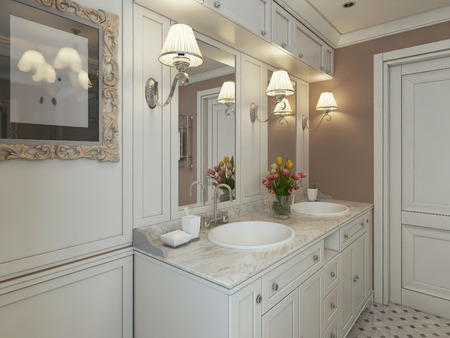 niches: Bathroom Art Deco. 3d render