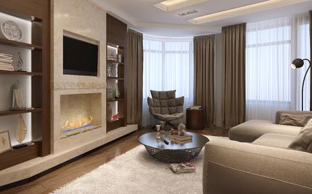 Living room avant-garde style, 3d images