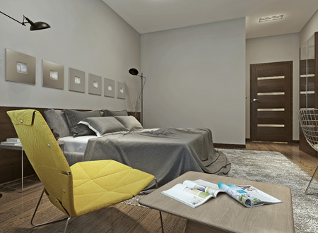 wenge: Bedroom constructivism style, 3d images Stock Photo